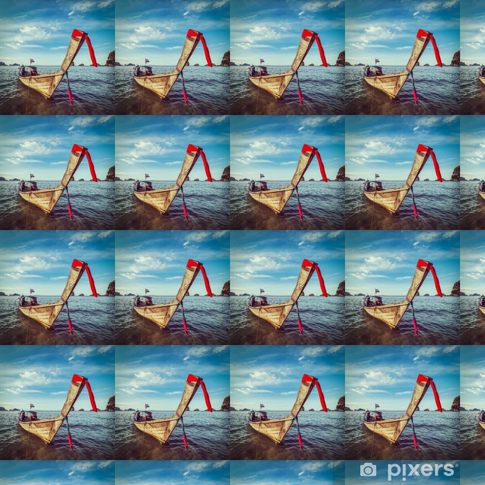 Papel pintado estándar a medida Bote de cola larga en la playa, Tailandia - Barcos
