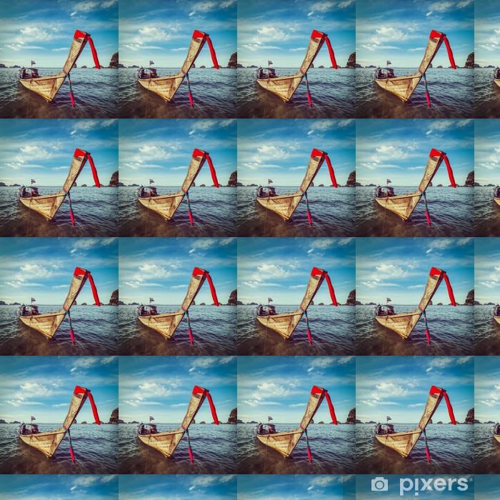 Papier peint vinyle sur mesure Bateau à longue queue sur la plage, Thaïlande - Bateaux