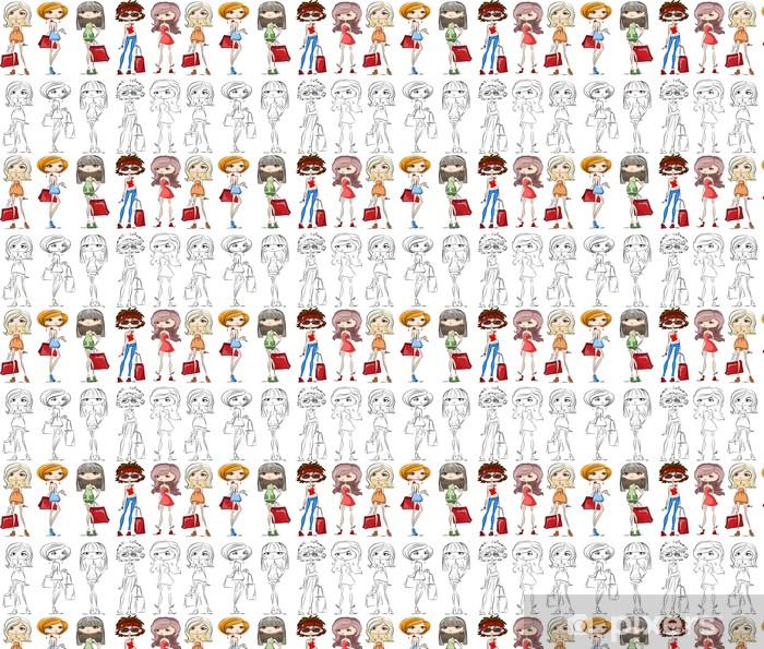 Papel pintado estándar a medida Conjunto de dibujos animados chicas de moda - Moda