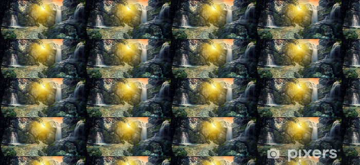 Carta da parati in vinile su misura Surreale Cascata tropicale - Acqua