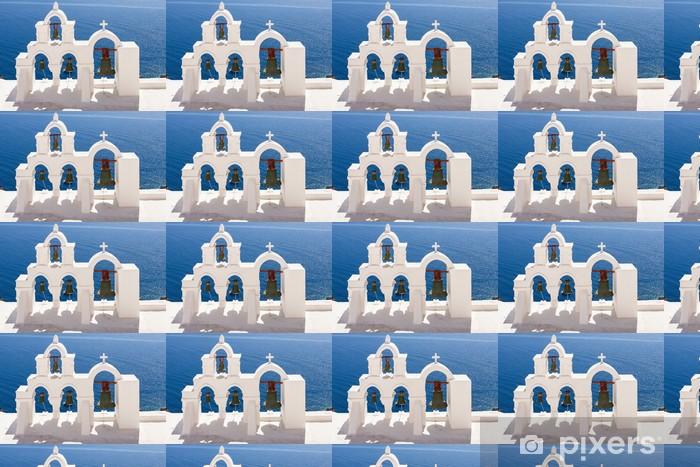 Papier peint vinyle sur mesure Santorin Eglise avec les archs et les cloches - Europe
