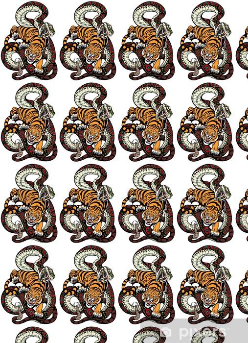 Vinyl behang, op maat gemaakt Slang en tijger strijd - Denkbeeldig dieren