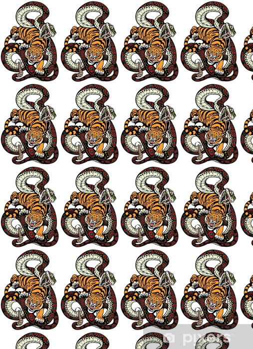 Måttanpassad vinyltapet Orm och tiger kamp - Fantasidjur