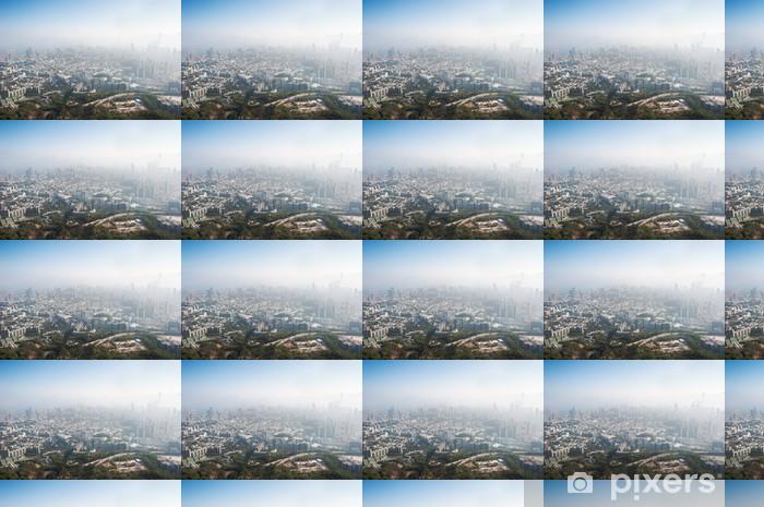Papier peint vinyle sur mesure Polluée Hong Kong paysage urbain vu de Beacon Hill, Kowloon - Villes d'Asie