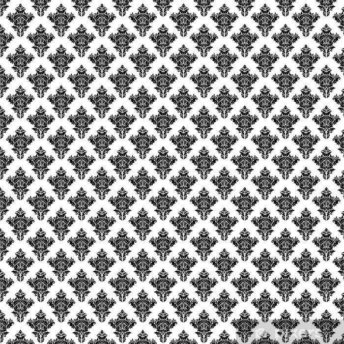 Vinyltapete nach Maß Monochrome nahtlose Blumenmuster - Hintergründe