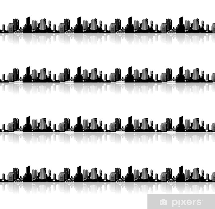 Papel pintado estándar a medida Ciudad y el mar. Vector art. - Urbano