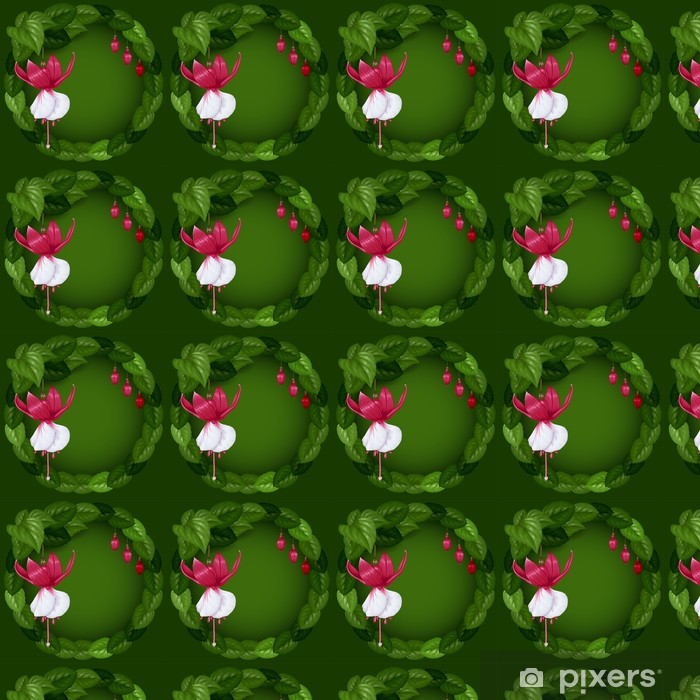Wreath with flowers and leaves Vinyl custom-made wallpaper - Celebrations