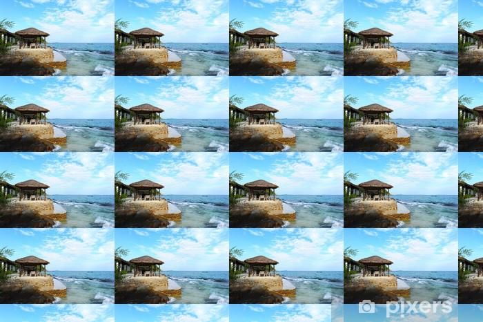 Papier peint vinyle sur mesure Pavillon en bois à la plage - Eau