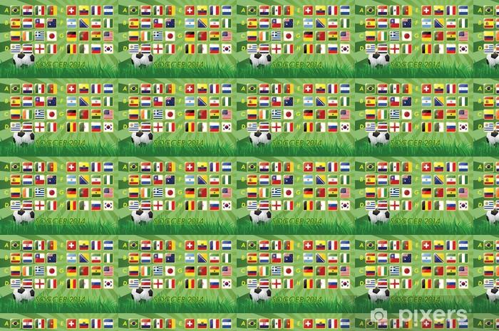 Papier peint vinyle sur mesure Drapeaux de l'équipe nationale de soccer 2014 sur fond - Signes et symboles