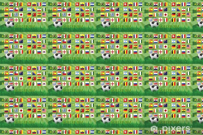 National Team Flags for soccer 2014 on background Vinyl custom-made wallpaper - Signs and Symbols
