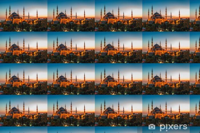 Tapeta na wymiar winylowa Niebieski Meczet w Stambule, z zachodem słońca - Europa