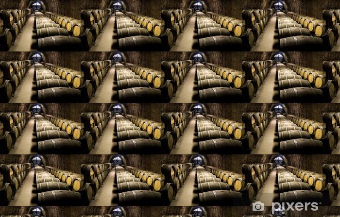 Wine barrels in cellar. Wide angle view. Vinyl Wallpaper - Alcohol