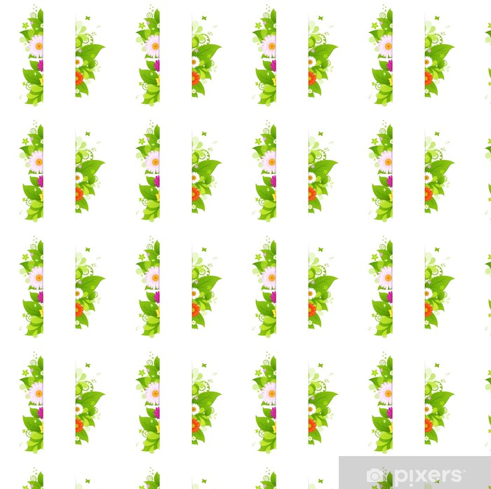 Papier peint vinyle sur mesure Fond Naturel feuilles et de fleurs - Fleurs