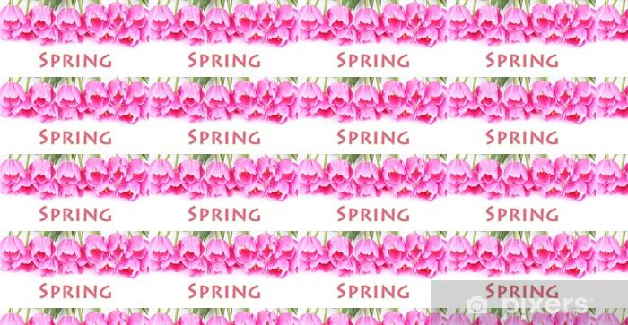 Papier peint vinyle sur mesure Belles tulipes roses isolé sur fond blanc. - Fleurs