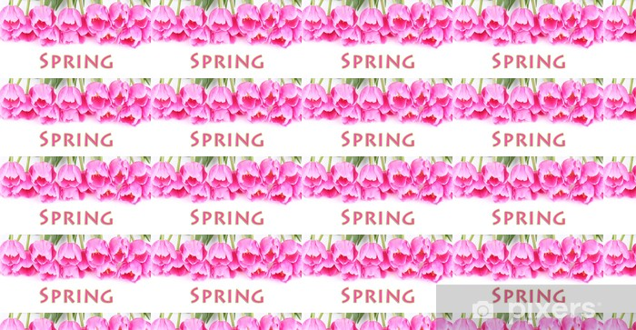 Tapeta na wymiar winylowa Piękne różowe tulipany na białym tle. - Kwiaty