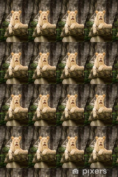 Valkoinen leijona kalliolla. Räätälöity vinyylitapetti -