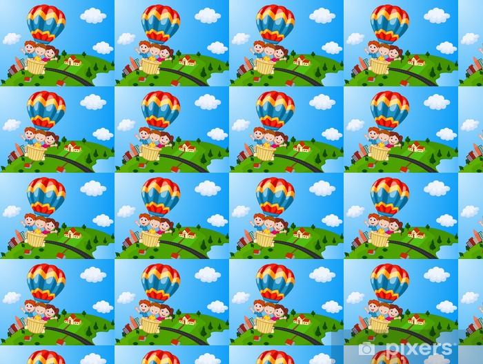 Happy kids riding a hot air balloon Vinyl custom-made wallpaper - Children