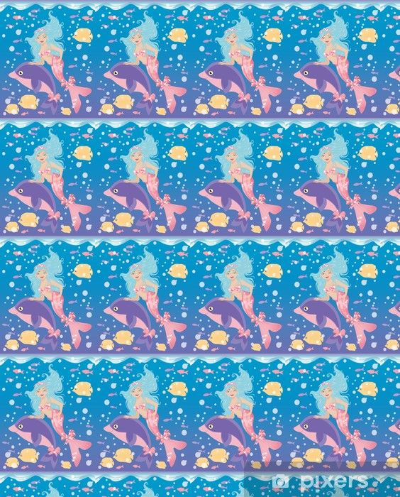 Papier peint vinyle sur mesure Petite fille de sirène et le dauphin, illustration vectorielle - Animaux imaginaires