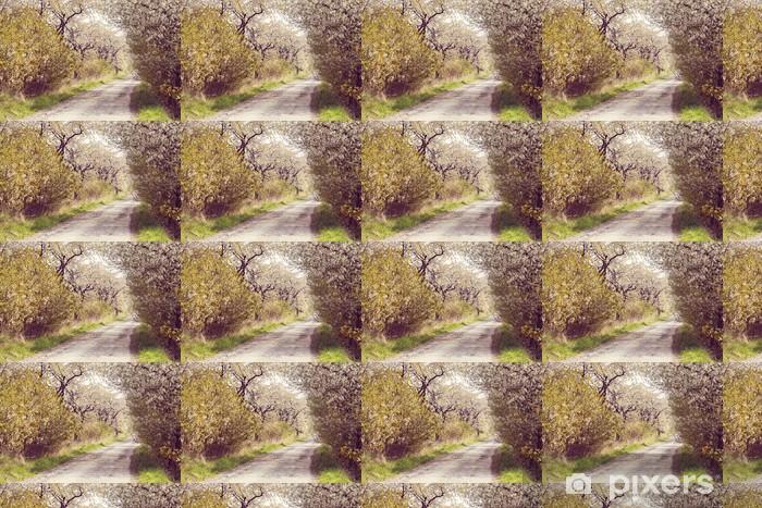 Vinylová tapeta na míru Silnici s alejí třešní v květu - Témata