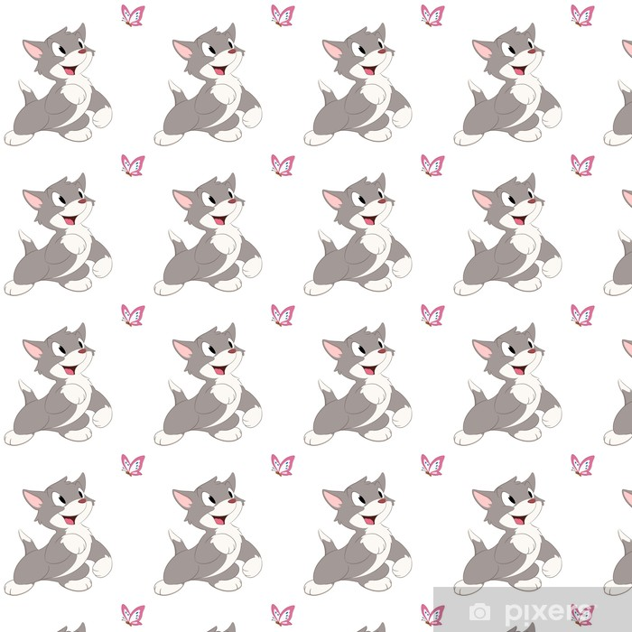 Vinyltapete nach Maß Cartoon-Katzen-Schmetterlings- - Wandtattoo
