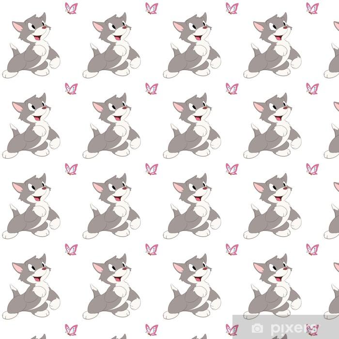 Tapeta na wymiar winylowa Kot kreskówka motyl - Naklejki na ścianę