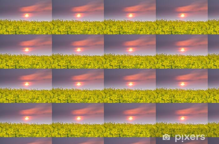 sunset over rapeseed field Vinyl custom-made wallpaper - Flowers