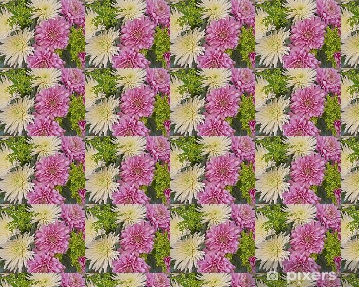 Papier peint vinyle sur mesure Blanc et de fleurs de chrysanthème rose gros plan - Vente