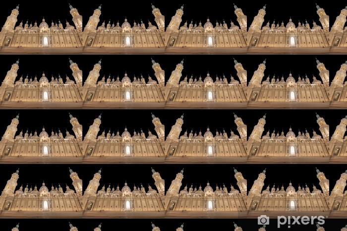 Vinyl behang, op maat gemaakt Onze Lieve Vrouw van de Pilaar Basiliek in de nacht view.Zaragoza.Spain - Europa