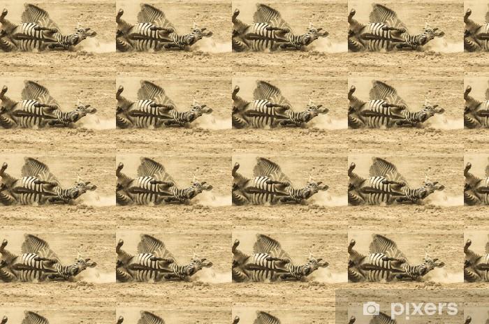 Vinyltapete nach Maß Zebras im Staub - Themen