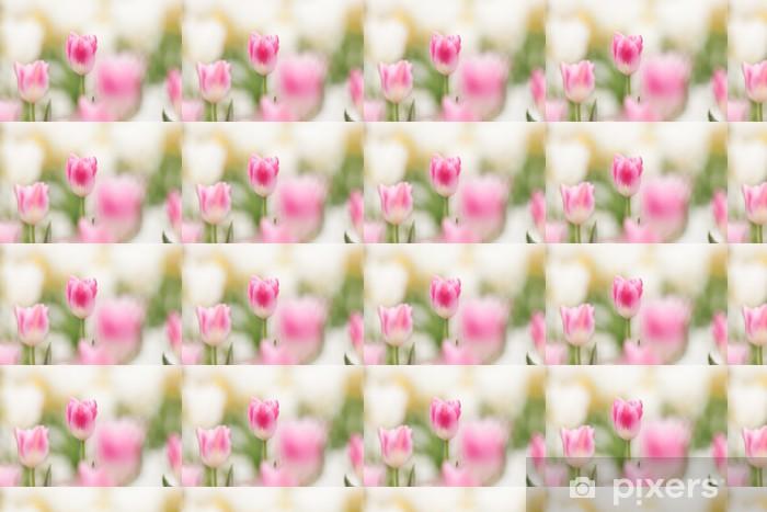 Papier peint vinyle sur mesure Des champs de tulipes - Fleurs