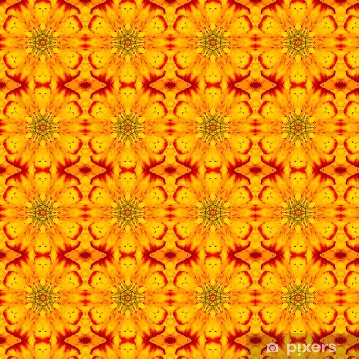 Papier peint vinyle sur mesure Centre fleur jaune concentrique. Conception kaléïdoscopique - Fleurs