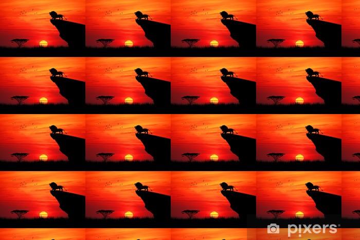 Papier peint à motifs vinyle Lion sur la corde au coucher du soleil - Thèmes