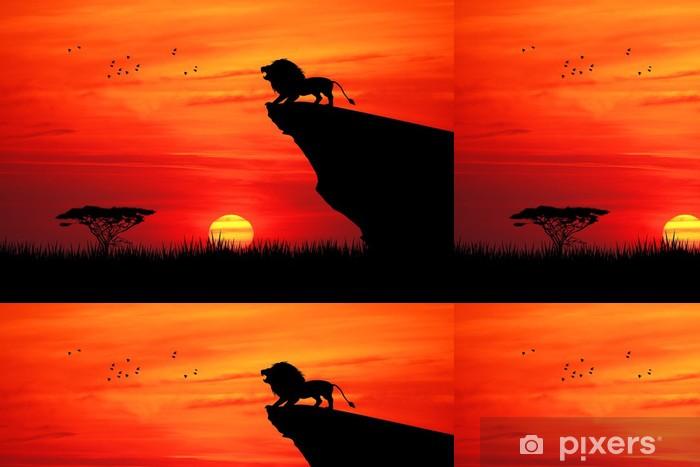 Vinyltapete Lion am Seil bei Sonnenuntergang - Themen