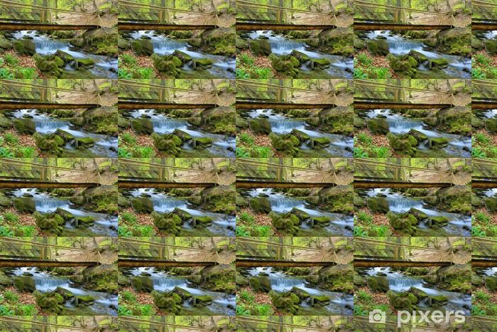 Papier peint vinyle sur mesure Pont de bois sur la rivière de montagne - Eau