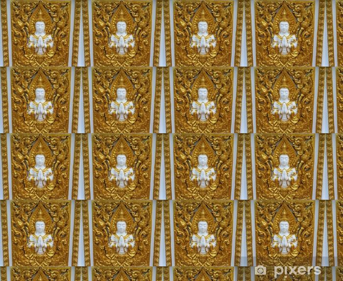 Papier peint vinyle sur mesure Angle sculpté peinture d'or sur le temple de mur - Religion