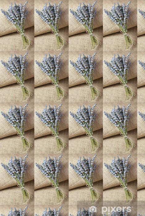 Papier peint vinyle sur mesure Fleurs de lavande sur fond de jute - Maisons et jardins