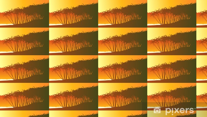 Horizontal illustration palm trees on beach. Vinyl Custom-made Wallpaper - Palm trees