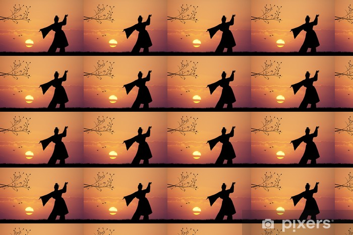 Vinyltapete nach Maß Japanischen Tanz bei Sonnenuntergang - Frauen