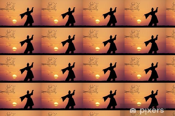 Japanese dance at sunset Vinyl custom-made wallpaper - Women