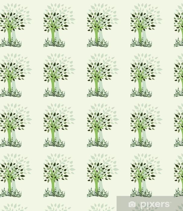 Papier peint à motifs vinyle Carte avec stylisé avec des arbres et de l'herbe - Illustration - Merveilles naturelles