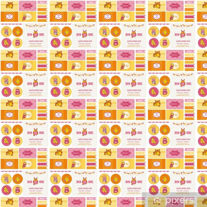 Papier peint vinyle sur mesure Baby Shower Party Set Hibou - Célébrations