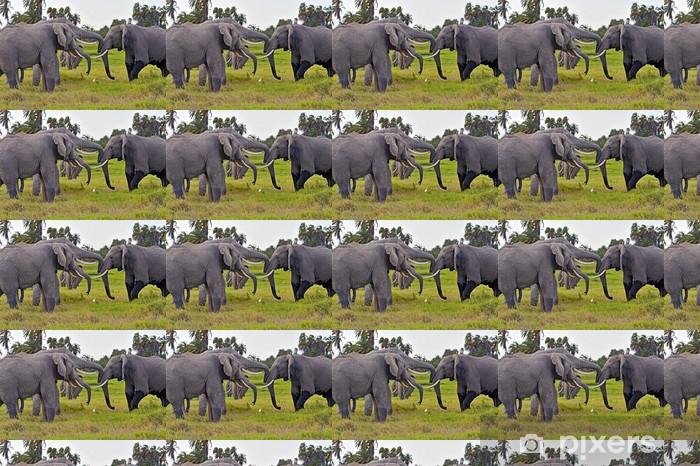 Papier peint vinyle sur mesure Éléphants du Kilimandjaro - Thèmes