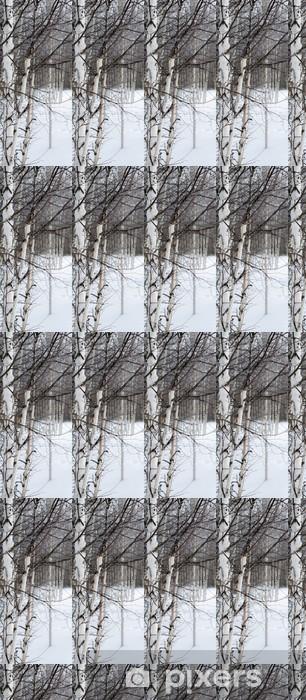 Papier peint vinyle sur mesure White Birch et de neige - Thèmes