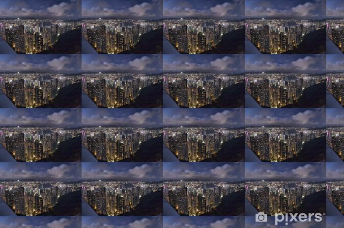 Tapeta na wymiar winylowa Nocny widok na wyspie Hong Kong z Victoria Peak - Azja