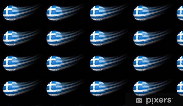 Papier peint vinyle sur mesure Le ballon de football avec le drapeau grec en mouvement sur fond noir - Articles de sport