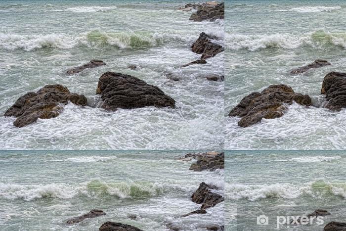 Vinylová Tapeta Mořská bouře bouře na skalách - Voda