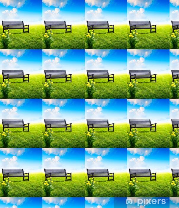Vinyltapete nach Maß Abstrakte hölzerne Gartenbank in einem Park - Sonstige