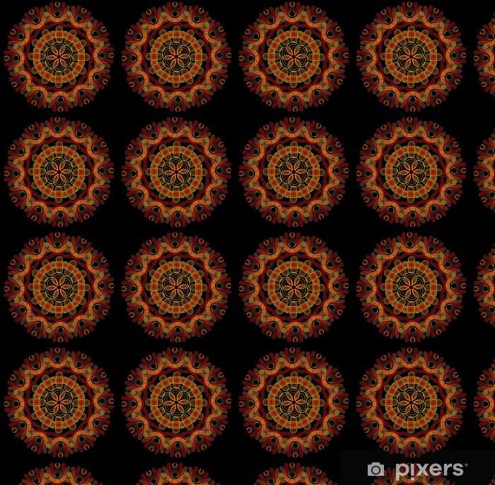 Vinyltapete nach Maß Feuer-Mandala auf einem dunklen Hintergrund - Hintergründe
