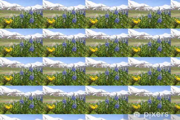 Papier peint vinyle sur mesure Fleurs du lupin bleu sur un fond de montagnes de neige - Europe