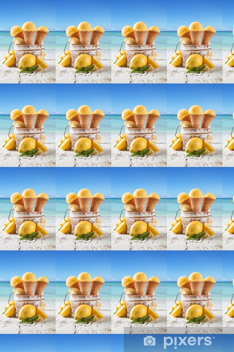Lemon cce cream scoops in cones with blur beach Vinyl custom-made wallpaper - Meals
